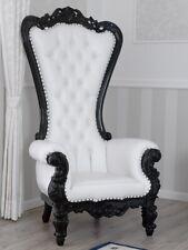 Fauteuil Regina style Baroque Dark trône noir laqué similicuir blanc boutons Cry