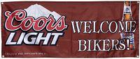 Coors light WELCOME Bikers VINYL flag 2x5ft BANNER