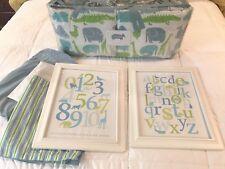 Land of Nod Crate & Barrel Boy Crib Bedding Set - Zoo Jungle Animals, Blue/Green