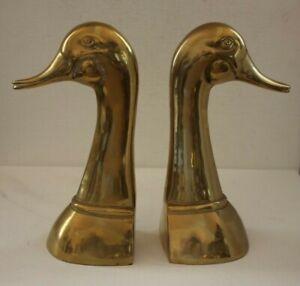 2 Buchstützen Messing 2038g Enten 22cm Bücherregal Tier Figur brass alt vintage