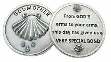 "Godmother Pocket Token 1 1/4"" Metal Prayer Catholic Baptism Gift"