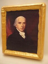 James Madison American President Gold Art Icon on Genuine Pine Wood Plaque