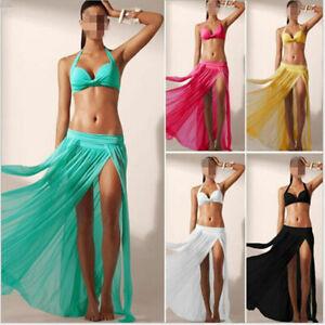 Womens Bikini Cover Up Swimwear Sarongs Sheer Beach Maxi Wrap Skirt Long Dress