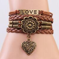 Vintage Infinity LOVE Heart Flower Friendship Copper Leather Charm Bracelet