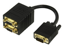 VGA Splitter Lead 1 into 2 Cable Gold - Splits the VGA Signal to two monitors