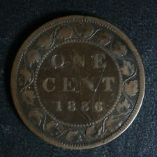 1 cent 1886 Obv. 1 Canada one penny copper large Queen Victoria c ¢ VG-10 Scr