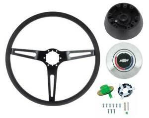 1969-72 Corvette Comfort Grip Steering Wheel Kit W/O Tilt Wheel Black Spokes