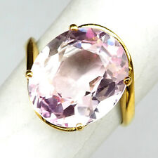 KUNZITE SOFT PINK OVAL 10.10 CT. 925 STERLING SILVER GOLD RING SZ 6.25 WEDDING