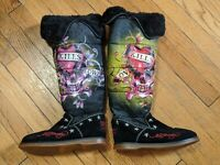 Ed Hardy Snowblazer Love Kills Slowly Black Knee High Winter Tall Boots Size 5