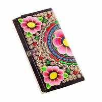 Vintage Embroidery Clutch Bag Ethnic Embroidered Wallet Ladies Long Zipper Purse