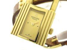 Auth HERMES Kelly Watch Gold LightBrown 981663 Women's Wrist Watch