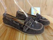 ALDO Moccasins Flat Loafers Womens Size 7.5 / 38 Dark Brown Buckle Flower Stitch