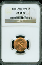1960 LINCOLN LARGE DATE CENT NGC MS65 RD