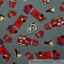 BonEful Fabric FQ Cotton Quilt Gray Red FIRE*Man Truck 911 Hydrant Hat Hero Boy