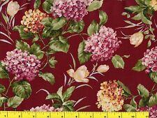 Spring Hydrangea Flowers w/ Tulips on Dark Red Quilting Fabric by Yard  #743