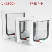 NEW Deluxe Magnetic 4 Way Locking Lockable Cat Flap Small Puppy Dog Pet Door