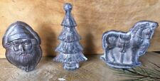 SET (3) MINI Antique Tin Style Christmas Rustic Distressed Resin Chocolate Molds