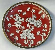 Vintage small Cloisonne footed dish red white flowers marked China