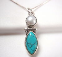 Cultured Pearl and Turquoise Marquise 925 Sterling Silver Necklace