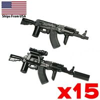 LEGO Guns AK47 Tactical Assault Rifle Army SWAT Modern Military Weapon Lot x15