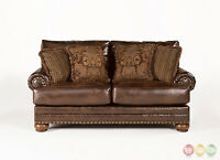 Tobacco Brown Traditional Sectional Sofa W Nailhead