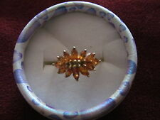 BEAUTIFUL ORANGE GARNET CLUSTER RING WITH 12 MARQUISE CUT GARNETS SIZE R USA  9