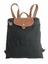 AS IS Longchamp Le Pliage Backpack Bag Sac a Dos Black Nylon Brown Leather