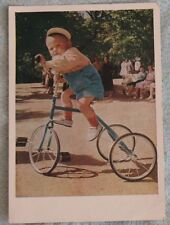 Russian Vintage POST CARD Child Kid Photo PC Tricycle Bike Bicycle Children USSR