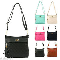 NEW Women Ladies Quilted Shoulder Bag Hobo Tote Cross Body Faux Leather HandBag