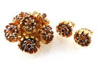 Vintage Rhinestone Brooch Earrings SET Flowers Detailed