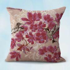 US Seller-decorative pillow cases covers hummingbird bird  flower cushion