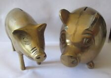 LOT OF 2 VINTAGE BRASS PIG SHAPED PIGGY BANKS