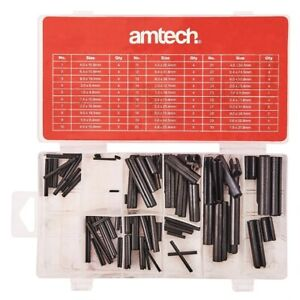 120pc ROLL PIN ASSORTMENT SET AMTECH PINS SPRING TENSION C POPULAR SIZES + CASE