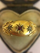 Victorian Antique Heavy 18ct Hallmarked  Yellow Gold Ruby Diamond Scroll Ring