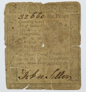 1772 Pennsylvania Six Pence Colonial Early US Note 6d