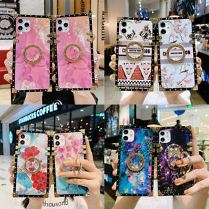 For iPhone 12 11 Pro Max XS XR 7 8+ Luxury Marble Flower Metal Square Case Cover