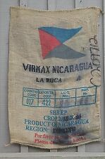 Old Vintage Burlap Coffee Bean Gunny Sack Bag VIRMAX NICARAGU La Roca