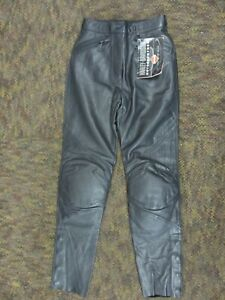 "GENUINE H-D HARLEY WOMENS FXRG BLACK LEATHER RIDING PANTS XS 27"" WAIST SIZE 2"