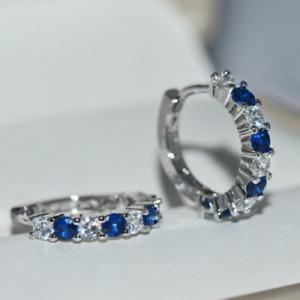 14K White Gold Over 1.50 Ct Round Cut Blue Sapphire Huggie Hoop Earrings Women's