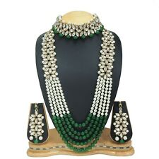 Bollywood Green Long & Choker Crystal Pearl Wedding Necklace Combo Jewelry Set