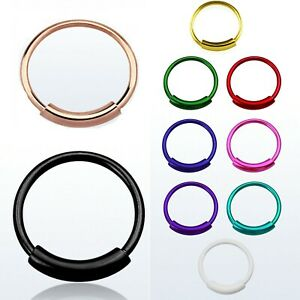 Solid 925 Sterling Silver Nose Ring Hoop Cartilage Tragus Piercing  Color plated
