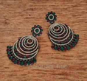 Gorgeous Party Wear Earring 925 Silver Rose Cut Diamond Ruby Emerald Chandbali