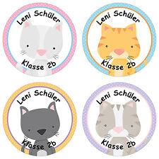 24 individuelle Sticker Schule – mit Katzen Motiv für Mädchen - PAPIERDRACHEN
