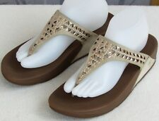 9 | FitFlop Women Micro Wobbleboard Tan Suede Perf Studs Toe Post Slip On Sandal
