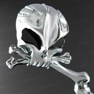 3D Chrome Skull Mirrors Convex Glass Black Eyes Harley Sportster Softail Dyna FL