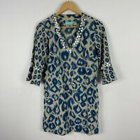 Blue Illusion Womens Dress XS Multicoloured 3/4 Sleeve V-Neck Buttons