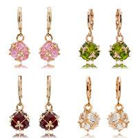 Womens 18K Yellow Gold Filled Elegant Crystal Ear Drop Dangle Bridal Earrings
