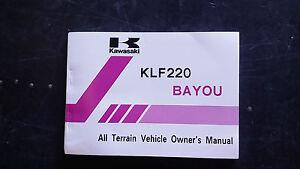 Kawasaki BAYOU KLF220 KLF 220 1985 A1 Owners Manual