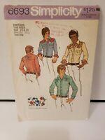 UNCUT Vintage 1970s Cowboy Western Shirt Simplicity Pattern 6693 size 14 16