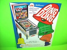 Williams DING DONG Original 1968 NOS Flipper Game Pinball Machine Promo Flyer